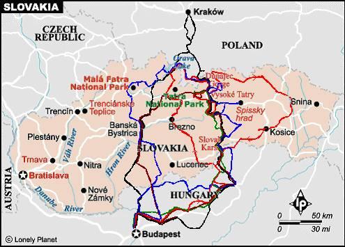 zakopane térkép Györgyi Gábor: Kerékpártúrák / túraajánló Szlovákiára Szlovákia  zakopane térkép